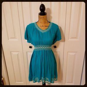 Boutique Teal Dress w/ Lace Trim